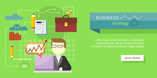 Business Strategy Web Banner. Performance Analysis. Search for solutions. Person working at laptop, businessman presenting development and financial planning Stock Photo