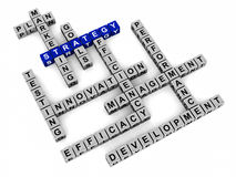 Business strategy words. Words related to strategy like plan marketing goals performance management efficiency etc in a crossword on white background Stock Photos