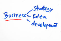 Business strategy written on white board Stock Photo