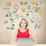 Business Strategy with young woman with laptop Royalty Free Stock Image