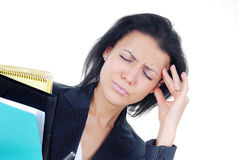 Business and stress. Displeased businesswoman in stress holding a folder with documents Stock Image