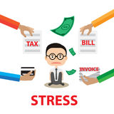 Business stress Concept report By A worry Businessman With hand hold paper tax invoice and bill Royalty Free Stock Photography
