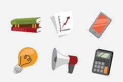 Business stress isolated vector illustration office life concept bullhorn meeting report lamp idea calculator book Stock Photography