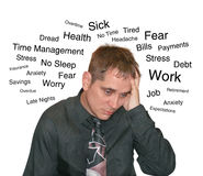 Business Stress Man with Text Worry Stock Photo