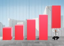 Business strongman lifts statistics Stock Photos