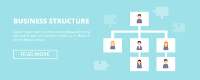 Business Structure horizontal banner with workers hierarchy. Organization chart infographics,  illustration Royalty Free Stock Image