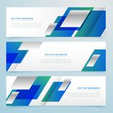 Business style geometric banners and headers in blue color Royalty Free Stock Photos