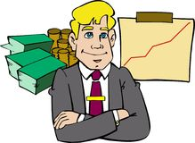 Business success. Cartoon Style for a business man of success, probably the best employee of the year. Money earnings and successfully business graphs on the vector illustration