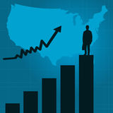 Business Success. Illustration of a businessman atop a bar graph on a blue background Stock Photo
