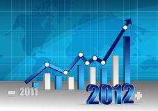 Business success. 2011 2012 Business graph with world background. Vector File also available Stock Photo