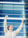 Business success. Business man with a smile on his face for success Royalty Free Stock Image