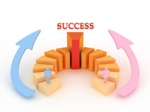 Business success. Men and women have the same chance of success in business Stock Illustration
