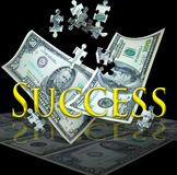 Business success. A 100 and 50 dollar bill float down with puzzle pieces falling into place. Concept for finding success in the business arena royalty free stock images
