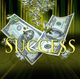 Business success. A 100 and 50 dollar bill float down with puzzle pieces falling into place. Concept for finding success in the business arena stock photo