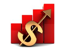 Business success. Abstract 3d illustration of raising charts and dollar sign with up arrow Royalty Free Stock Image