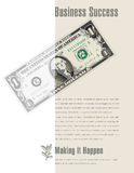 Business Success ad with a dollar bill Royalty Free Stock Photography