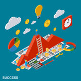 Business success, analytics, report, financial statistic vector concept. Business success, analytics, report, financial statistic, growth flat isometric vector Royalty Free Stock Photo