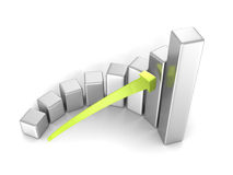 Business success bar chart with arrow on white background. 3d render illustration Stock Photography
