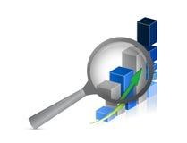 Business success bar graph with magnifying glass Stock Photos