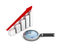 Business success bar graph with magnifying glass Royalty Free Stock Image