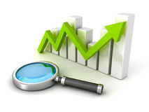 Business success bar graph with magnifying glass Stock Photo