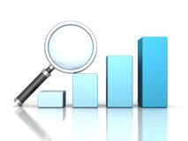 Business success bar graph with magnifying glass Stock Photography