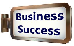 Business Success on billboard background. Business Success on wall light box billboard background , isolated on white Stock Image