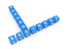 Business success. Blue letter blocks in crossword shape spelling words business success with dollar signs, white background Stock Image