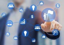 Business success, businessman drawing diagram, concept about successful vision, ideas