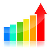 Business success charts. Colorful business charts over white background Stock Image