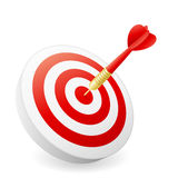 Business Success Concept. Dart hitting target on white background stock illustration