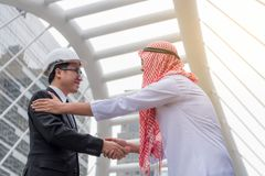 Business success concept : arab business people meeting team par. Tner ,happy hand shake communication ,selective focus Royalty Free Stock Photography