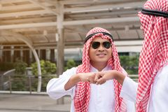 Business success concept : arab business people meeting team par. Tner ,happy hand shake communication ,selective focus Stock Photos