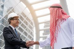 Business success concept : arab business people meeting team par. Tner ,happy hand shake communication ,selective focus Stock Photography
