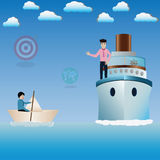 Business success concept,Businessman sitting on paper boat and s. Omeone come in ferry boat - vector Illustration Royalty Free Stock Photos