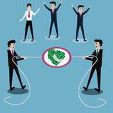 Business success concept,Businessmen in tug-of-war competition,f. Light for money - Vector Illustration Royalty Free Stock Photography