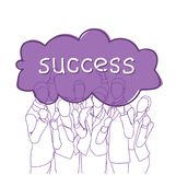 Business Success Concept Cheerful Group Of Businesspeople Holding Raised Hands Happy Successful Team Doodle Silhouettes Stock Photos