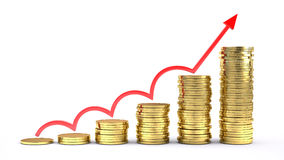 Business success concept. Coins chartand arrow UP Stock Photo