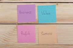 business and success concept - colorful sticky notes with words business, value, profit, success stock photography