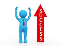 Business Success Concept. 3d render. Business Man with Success Arrow, Business Success Concept. 3d render Stock Illustration