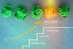 Business success concept with drawing of stair and crumpled pape Royalty Free Stock Photography