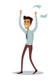 Business Success Concept Illustration. Business success illustration. Flat style design vector. Great deal, good day concept. Happy man with raised hands Royalty Free Stock Photo