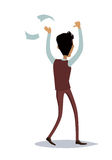Business Success Concept Illustration. Business success illustration. Flat style design vector. Great deal, good day concept. Happy man with raised hands Stock Image