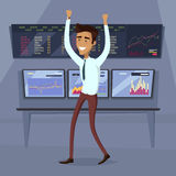 Business Success Concept Illustration. Business success illustration. Flat style design vector. Great deal, good day concept. Happy man with raised hands Stock Images
