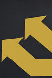 Business success concept and keep moving idea. Two yellow arrow on grey background, keep moving idea Royalty Free Stock Photo