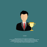 Business success. Success  concept. Man in suit with gold trophy. Flat  illustration Stock Photos