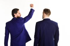 Business and success concept. Man in suit or winner royalty free stock image