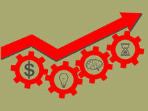 Business success concept. Red arrow up and gears with symbols br Royalty Free Stock Photography