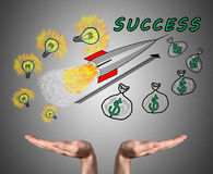 Business success concept sustained by open hands Royalty Free Stock Images