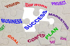 Business success concept text on jigsaw puzzle pieces Royalty Free Stock Images